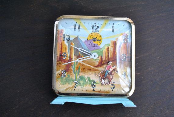 Vintage 50s Novelty Cowboy Kitsch Alarm Clock