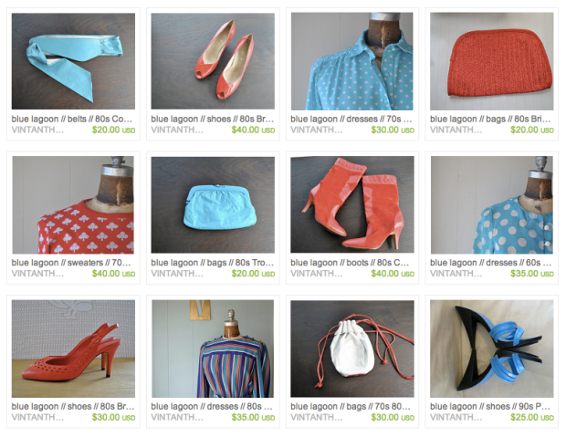 Aqua Blue and Bright Red Vintage Apparel Etsy