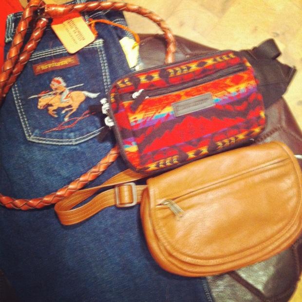 Southwestern influence - Pendleton fanny pack, cowboy jeans